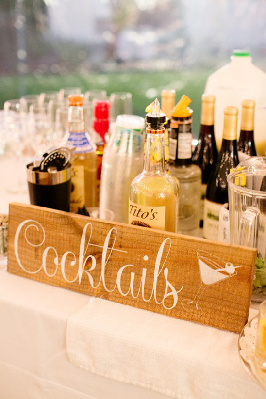 wooden cocktails sign