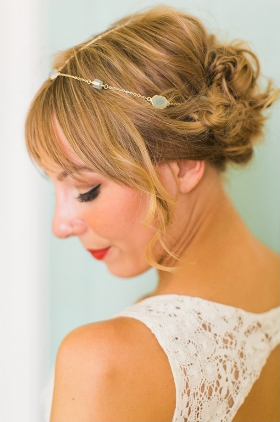 delicate halo and cute updo