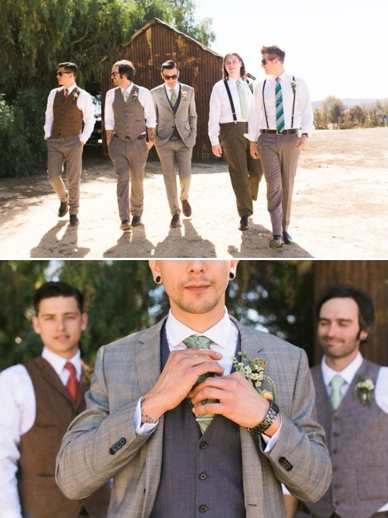 mix and matched groomsmen