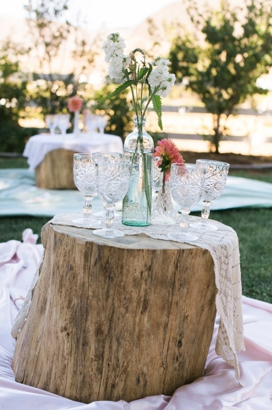 picnic style seating with stump table