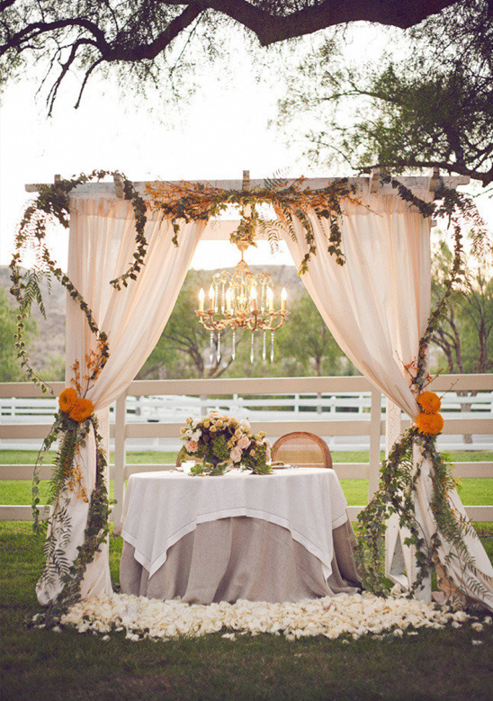 Outdoor Wedding, Outdoor sweetheart table ideas with backdrop