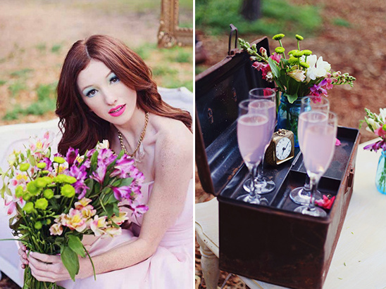fizzy pink drinks and wildflower bouquet