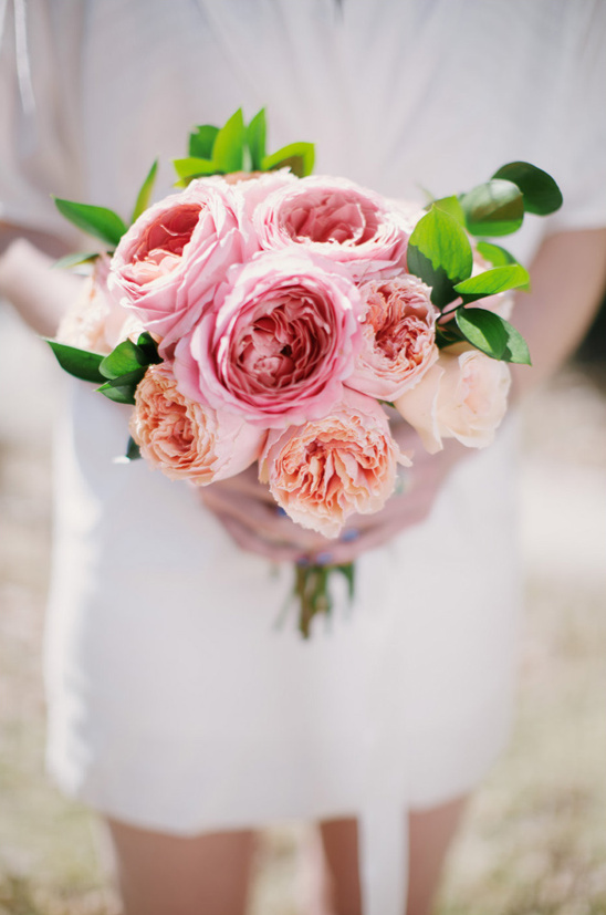 pink and peach garden rose bouquet