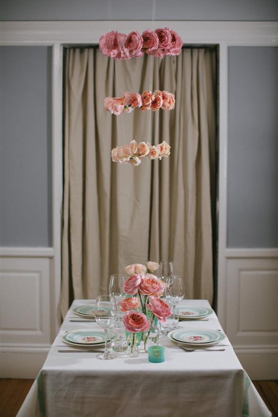 pretty pink rose ombre table