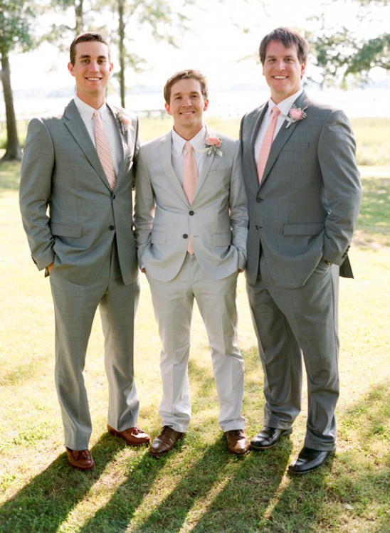 grey and pink groomsmen ideas