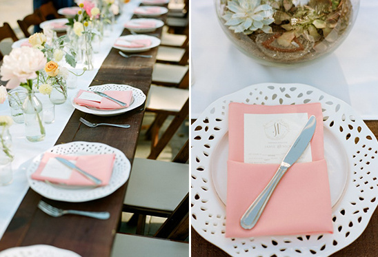 pink napkin place settings