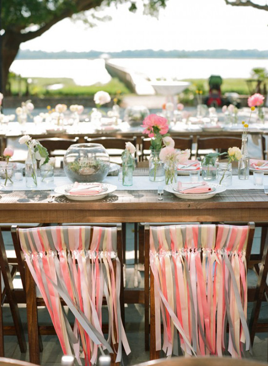 pink and grey ribbon chair decor