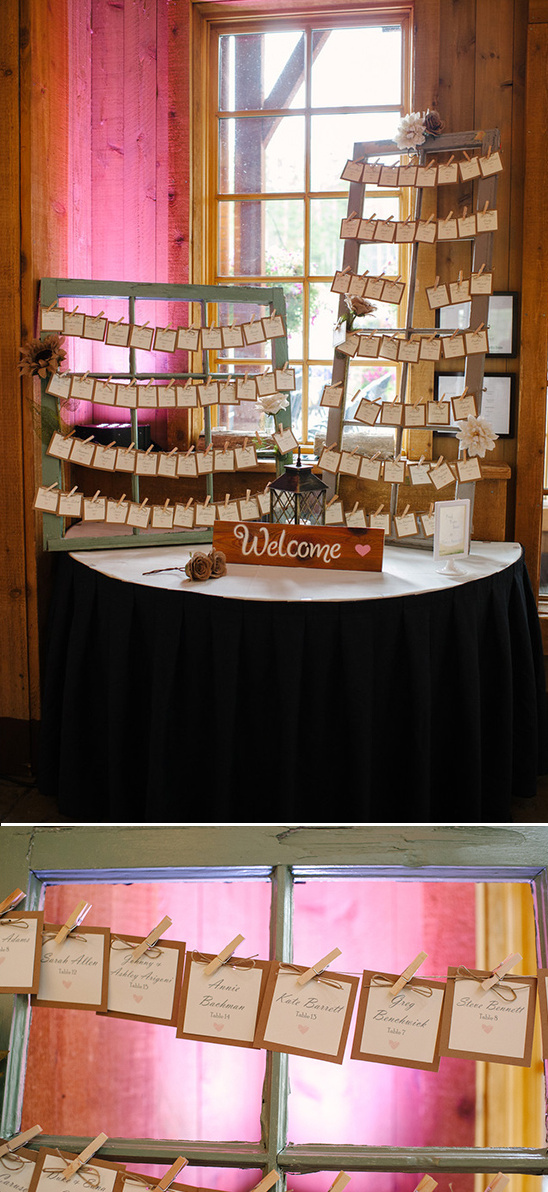 window pane escort card display idea