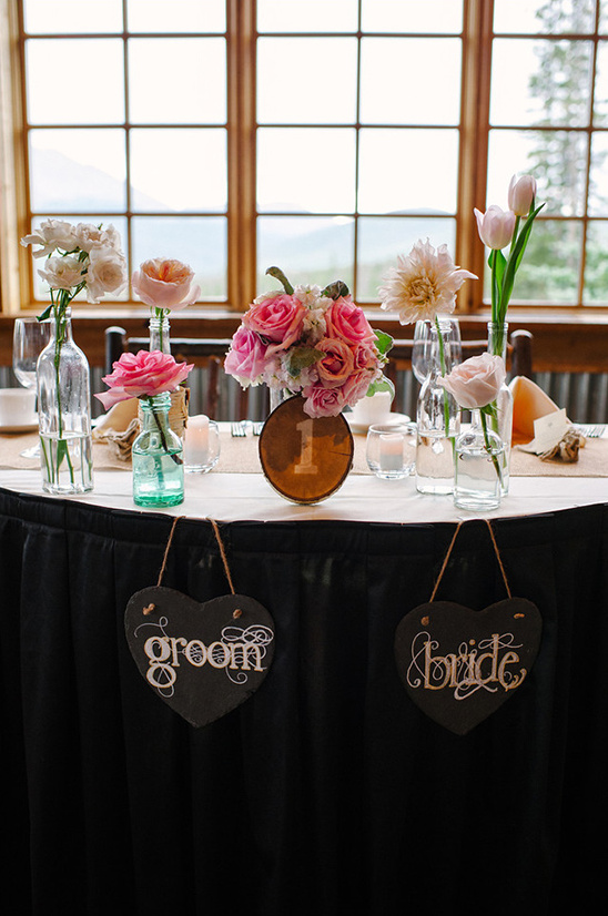 sweetheart table groom and bride signs