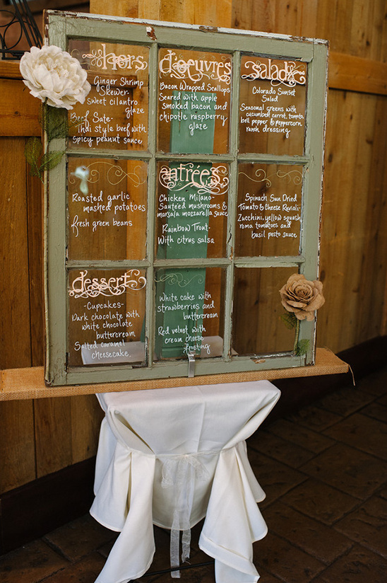 vintage window pane wedding menu