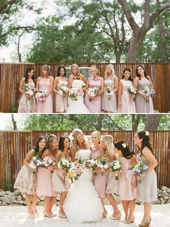 pink champagne and purple bridesmaids dresses