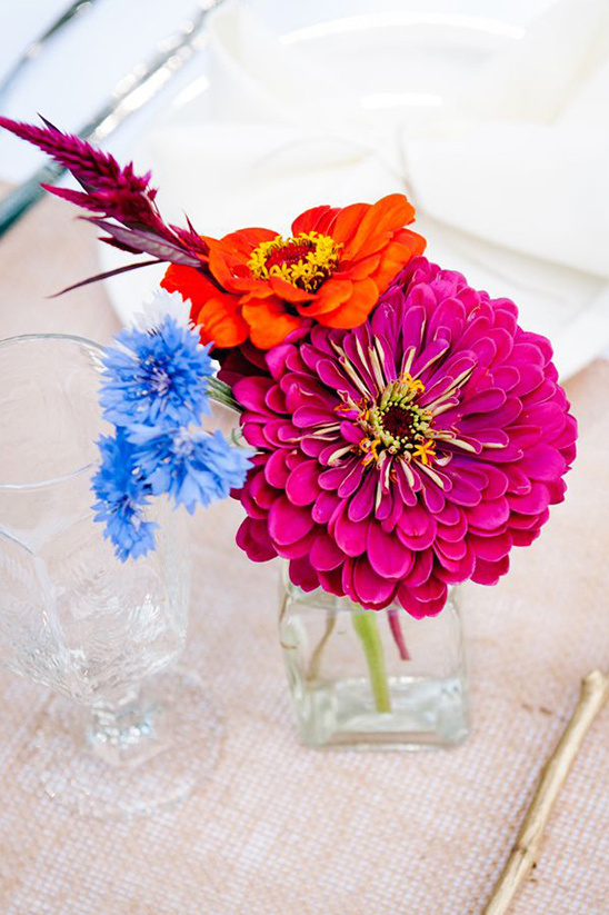 bright pink and orange centerpieces