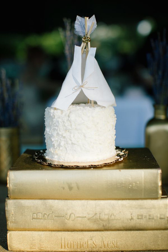 wedding cake with teepee topper