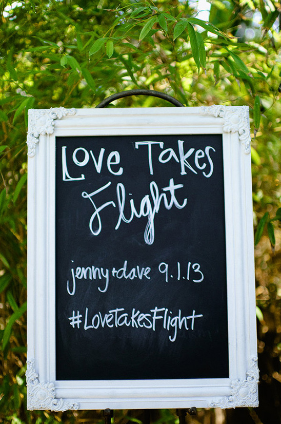love takes flight chalkboard