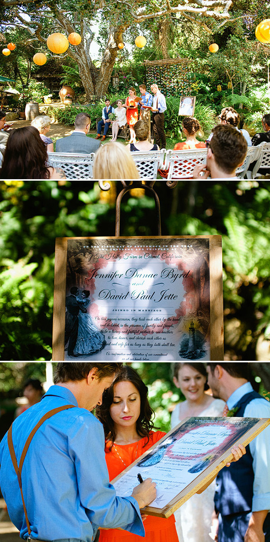 the tribe signing the wedding certificate
