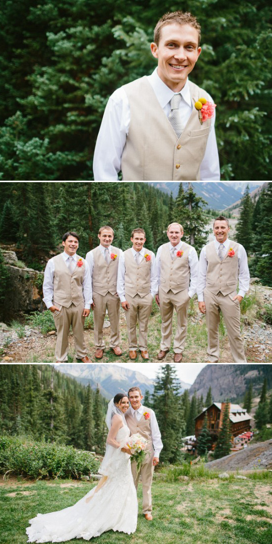tan and white groom and his men look