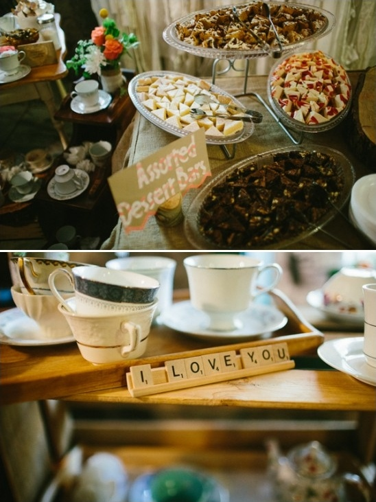 assorted desserts and scrabble I love you sign