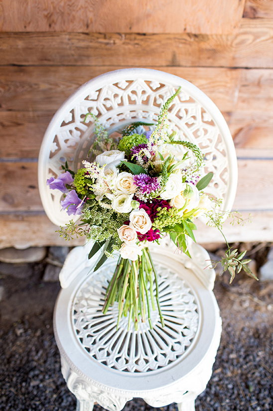 white and purple wood land bouquet