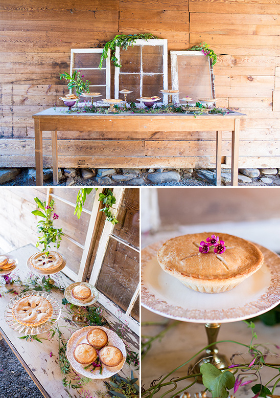 woodland wedding pie table