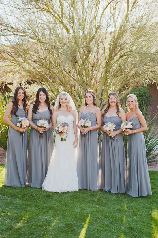 Dessy bridemaid dresses in grey