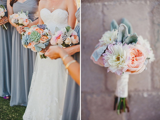 bridesmaid bouquets in pretty pastel colors