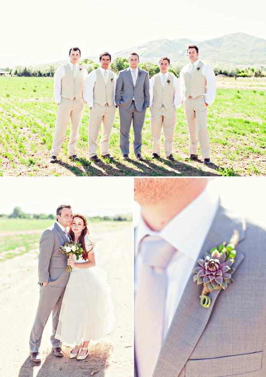 cream groomsmen attire with succulent boutonnieres