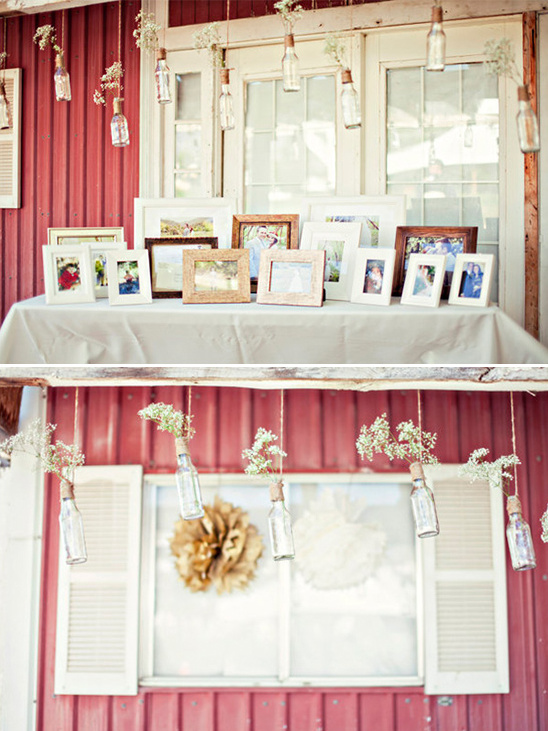 photo display with hanging babys breath