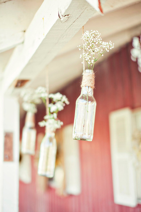 babys breath in glass bottles