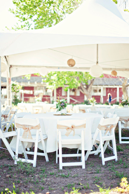 white and burlap wedding reception