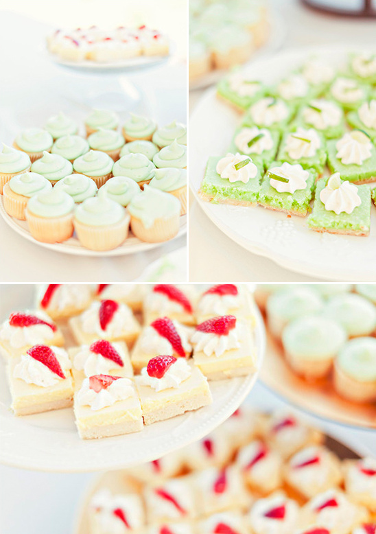 pink and green wedding desserts