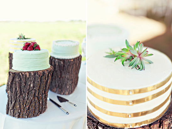 wedding cakes on stump stands