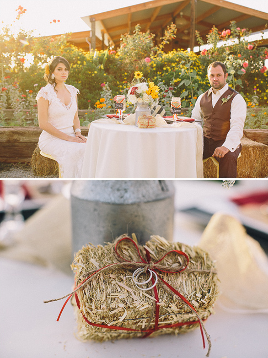 mini hay bale for ring pillow