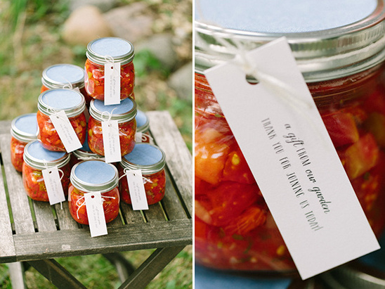 homemade salsa wedding favors