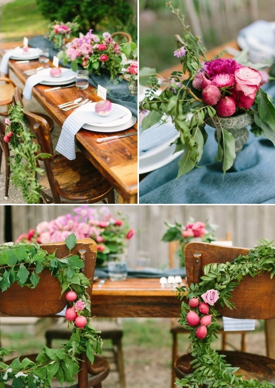 radish accented table decor