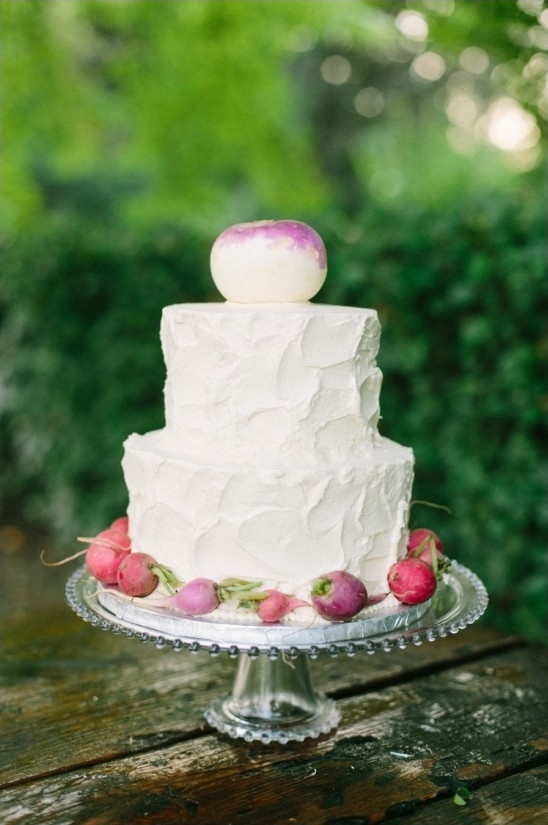 radish and turnip garnished wedding cake