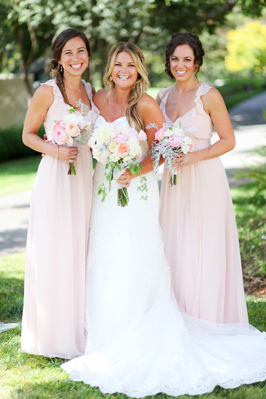 long pink bridesmaids dresses