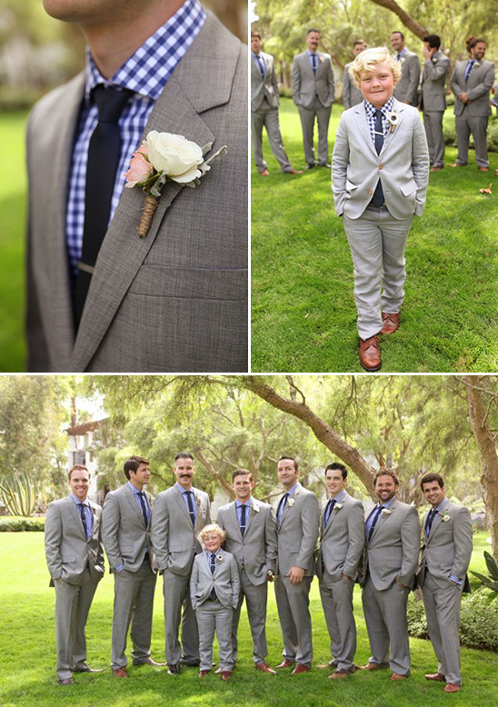 matching blue and grey groomsmen and ring bearer