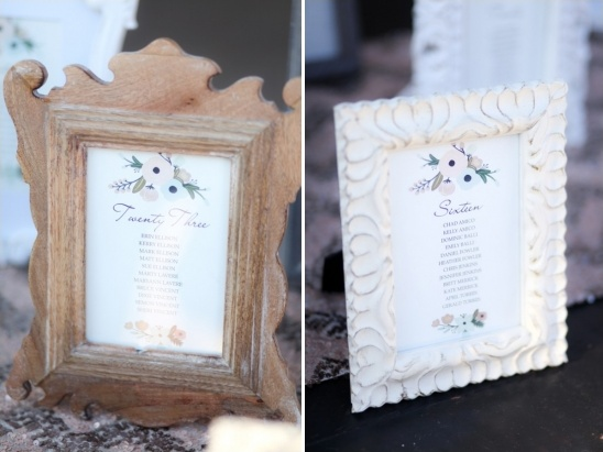 framed table number assignments