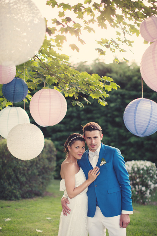 blue and pink French wedding