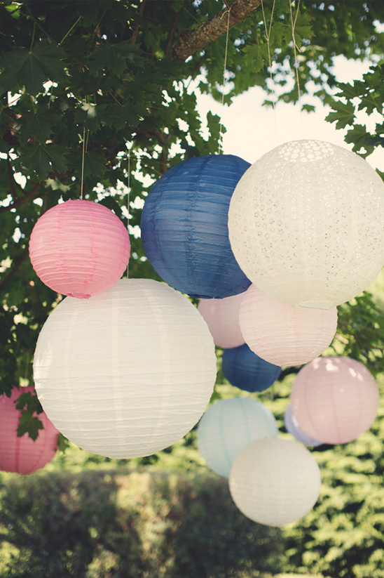 Pink And Blue Lanterns French Wedding