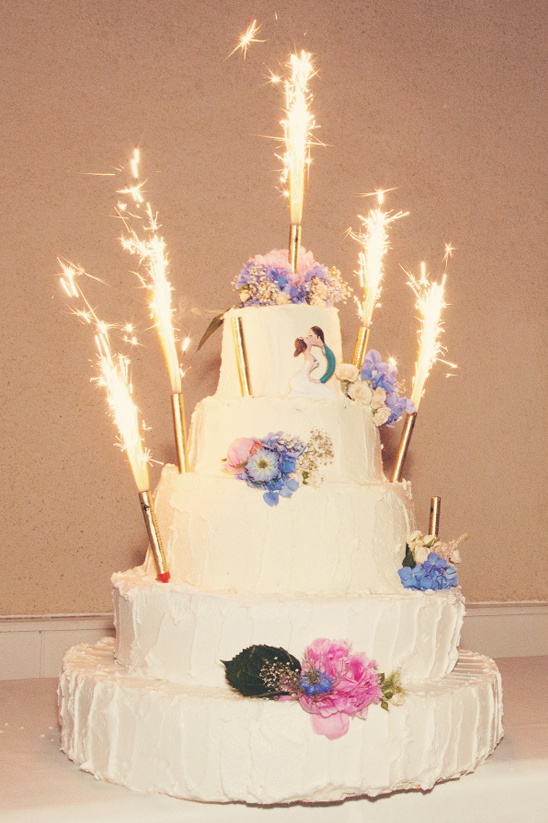 sparkler topped wedding cake