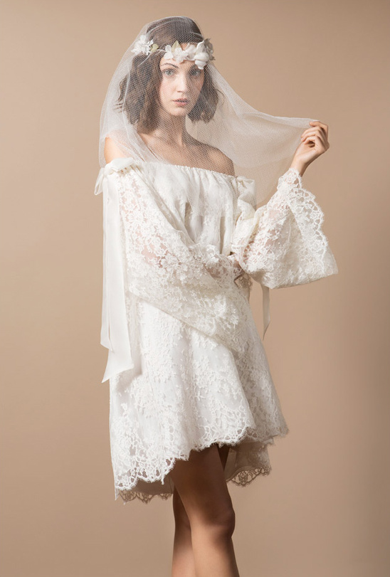off the shoulder lace wedding gown by Delphine Manivet