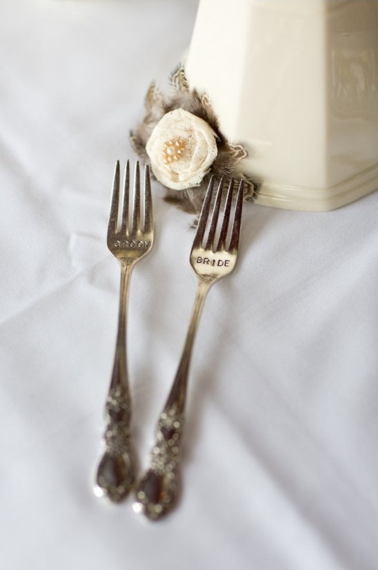 bride and groom forks