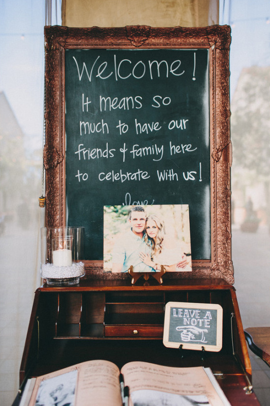 welcome chalkboard and guestbook