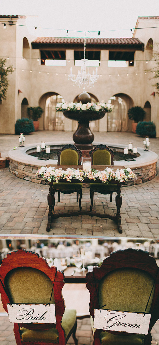 sweetheart table with bride and groom chair signs
