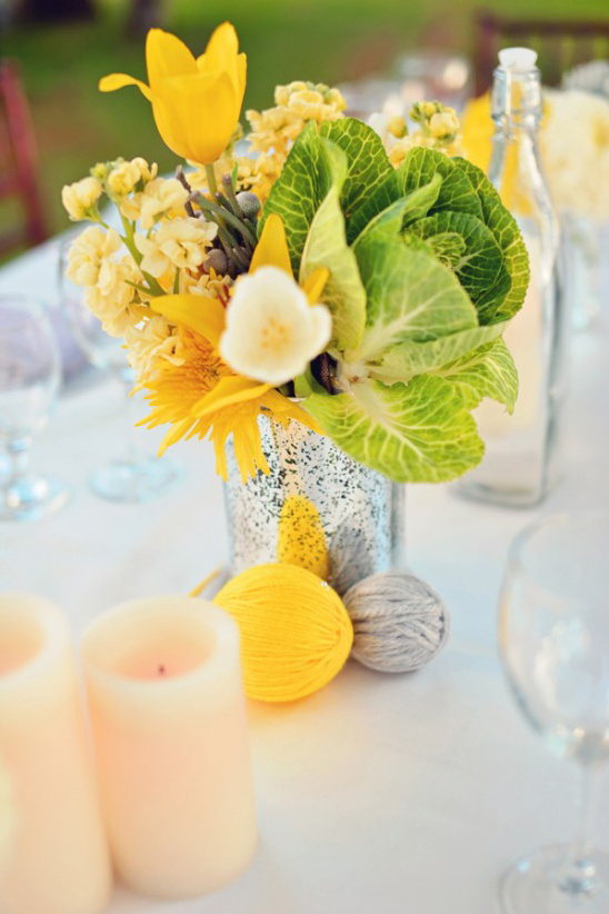 yarn ball and floral centerpieces