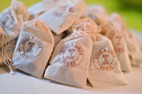 stamped favor bags of coffee beans