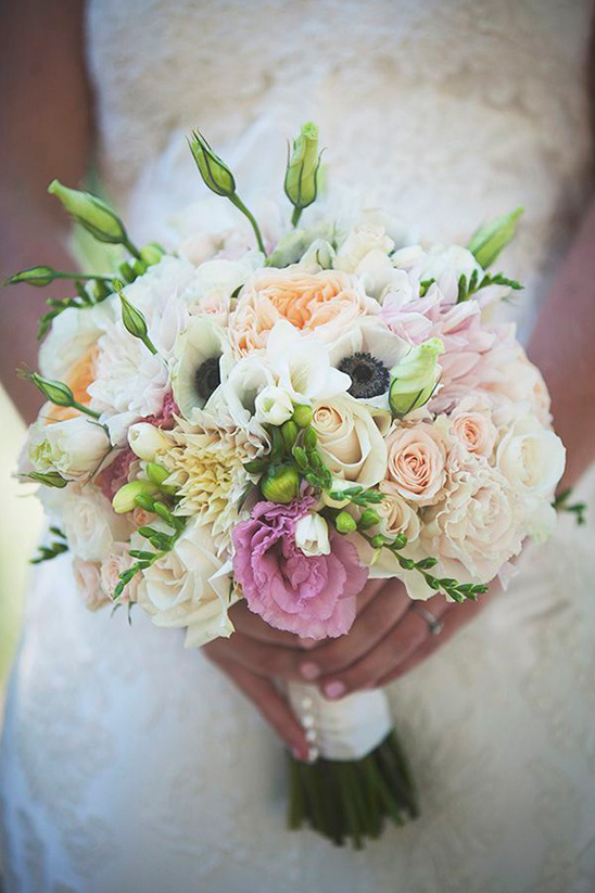 soft cream and pink wedding bouquet