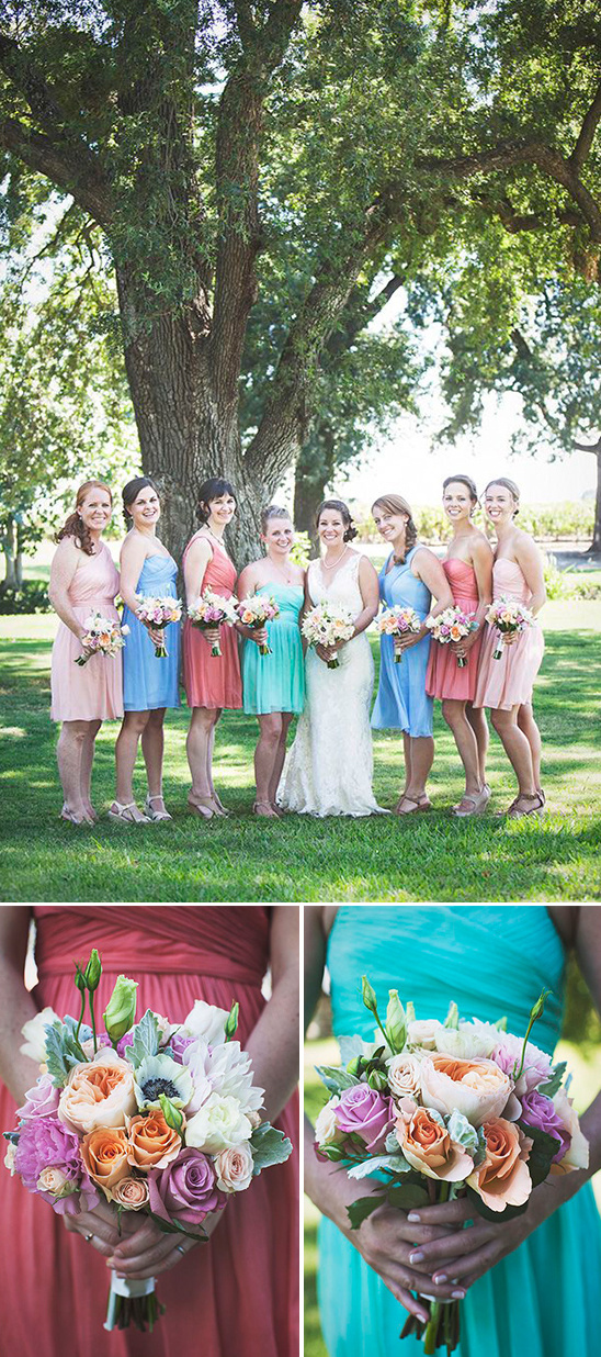 bold blue green and pink bridesmaid dresses