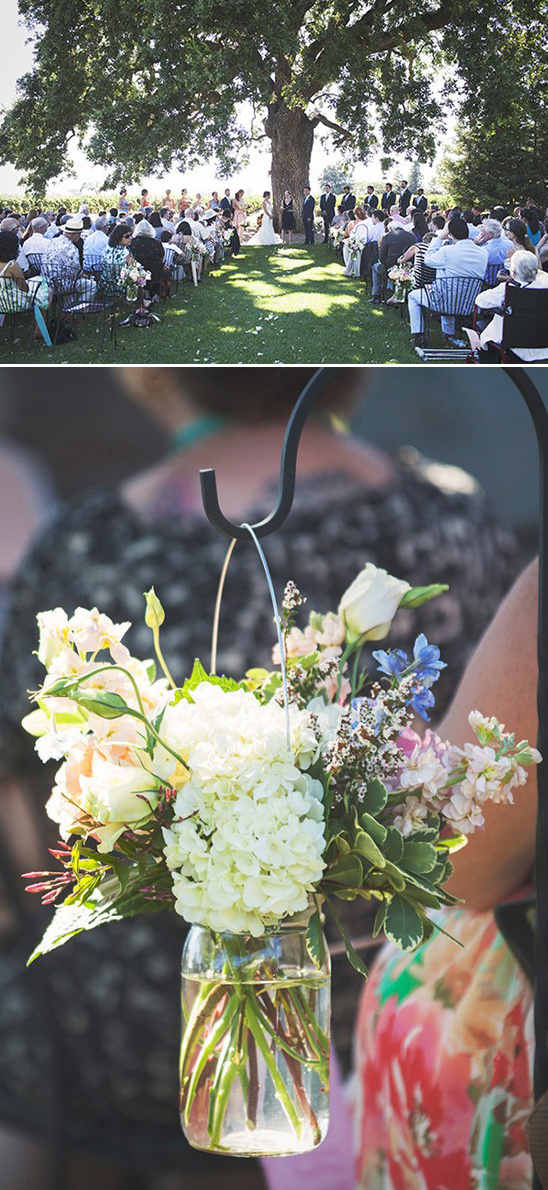 hanging floral ceremony aisle decor